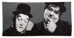 Laurel And Hardy Beach Towel by Paul Meijering