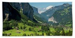 Lauterbrunnen Mountain Valley - Swiss Alps - Switzerland Beach Towel by Gary Whitton