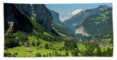 Lauterbrunnen Mountain Valley - Swiss Alps - Switzerland Beach Sheet by Gary Whitton