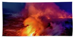 Lava And Ocean At Dawn Beach Towel by Allen Biedrzycki