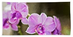 Lavendar Orchids Beach Towel by Lana Trussell