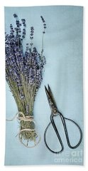 Beach Towel featuring the photograph Lavender And Antique Scissors by Stephanie Frey