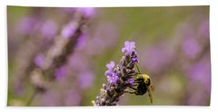 Beach Towel featuring the photograph Lavender And Bee by Nick Boren