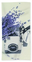 Lavender And Kodak Brownie Camera Beach Towel by Stephanie Frey