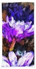 Lavender And White Flower With Reflection Beach Towel