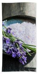 Beach Towel featuring the photograph Lavender Bath Salts In Dish by Elena Elisseeva