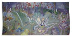 Lavender Fairies Beach Sheet by Judith Desrosiers