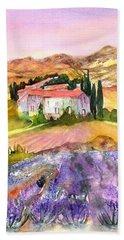 Lavender Field Provence France Beach Towel