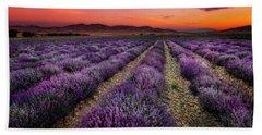 Lavender Fields At Sunrise Beach Towel