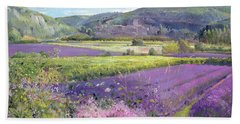 Lavender Fields In Old Provence Beach Towel by Timothy Easton
