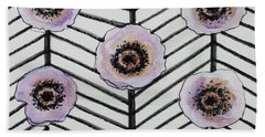 Lavender Poppies Beach Towel by Elizabeth Robinette Tyndall