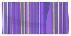 Beach Towel featuring the digital art Lavender Random Stripe Abstract by Val Arie