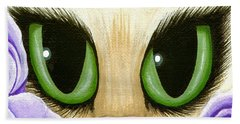 Lavender Roses Cat - Green Eyes Beach Sheet by Carrie Hawks