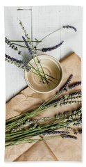 Beach Towel featuring the photograph Lavender Still Life 1 by Rebecca Cozart