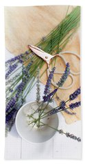Beach Towel featuring the photograph Lavender Still Life 3 by Rebecca Cozart