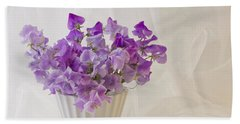 Lavender Sweet Peas And Chiffon Beach Towel by Sandra Foster