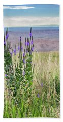 Lavender Verbena And Hills Beach Towel