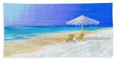 Lawn Chairs In Paradise Beach Sheet by Jeremy Aiyadurai