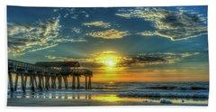 Beach Towel featuring the photograph Lazy Days Of Summer Sunrise Tybee Island Pier Art by Reid Callaway