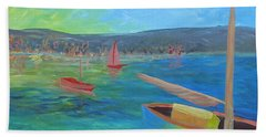 Beach Towel featuring the painting Lazy Summer by Barbara McDevitt