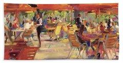 Le Cafe Du Jardin  Beach Towel