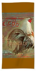 Beach Sheet featuring the digital art Le Coq - Cafe Francais by Jeff Burgess