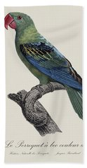 Le Perroquet A Bec Couleur De Sang / Great-billed Parrot - Restored 19thc. Illustration By Barraband Beach Towel