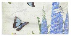 Le Petit Jardin 1 - Garden Floral W Butterflies, Dragonflies, Daisies And Delphinium Beach Towel