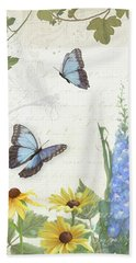 Beach Sheet featuring the painting Le Petit Jardin 1 - Garden Floral W Butterflies, Dragonflies, Daisies And Delphinium by Audrey Jeanne Roberts