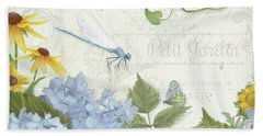 Beach Towel featuring the painting Le Petit Jardin 2 - Garden Floral W Dragonfly, Butterfly, Daisies And Blue Hydrangeas by Audrey Jeanne Roberts