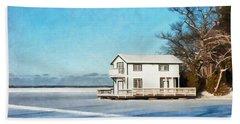 Leacock Boathouse In Winter Beach Towel