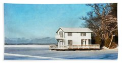 Leacock Boathouse In Winter Beach Sheet