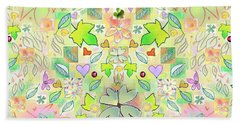 Leaf And Flower And Heart Pattern  Beach Towel