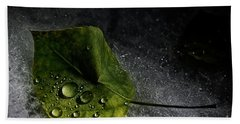 Leaf Droplets Beach Towel