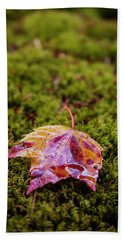 Leaf On Moss Beach Towel