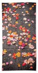 Leafy Autumn Walk Beach Towel