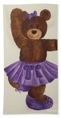 Beach Sheet featuring the painting Leah's Ballerina Bear 2 by Tamir Barkan