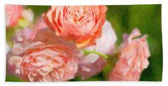 Leander English Rose Beach Towel by Verena Matthew