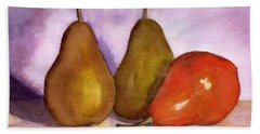 Leaning Pear Beach Towel by Lynne Reichhart