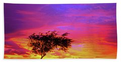 Leaning Tree At Sunset Beach Towel