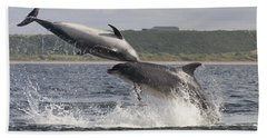 Leaping Bottlenose Dolphins - Scotland  #38 Beach Sheet