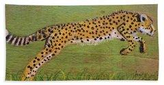 Leaping Cheetah Beach Towel by Ann Michelle Swadener