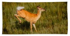 Beach Towel featuring the photograph Leaping Deer With Warning Flag by Rikk Flohr