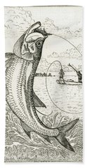 Beach Sheet featuring the drawing Leaping Tarpon by Charles Harden
