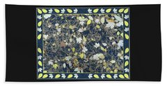 Leaves And Needles On Pavement With Border Beach Towel by Lise Winne
