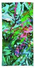 Leaves Buds Green Pink Beach Towel