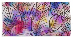 Leaves Colorful Abstract Design Beach Towel