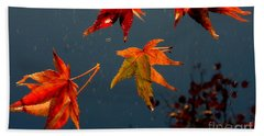 Leaves Falling Down Beach Sheet by Marie Neder