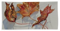 Beach Towel featuring the painting Leaves Of Fall by Mary Haley-Rocks