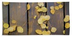 Leaves On Planks Beach Sheet